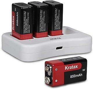 Kratax 9V 電池 充電式 4個セット 6P形 角型 バッテリー 850mAh 充電池 6P型 リチウムイオン充電池 じゅうでんち カメラ ラジオ おもちゃ ギター 火災報知器 防災 006P 6F22 充電器セット (9V形 4本+4ス...