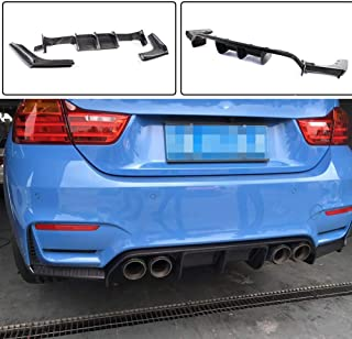JC SPORTLINE Carbon Fiber Rear Diffuser Lip fits BMW 3 Series F80 M3 Sedan 4 Series F82 F83 M4 Coupe Convertible 2014-2019 3PCS/Set