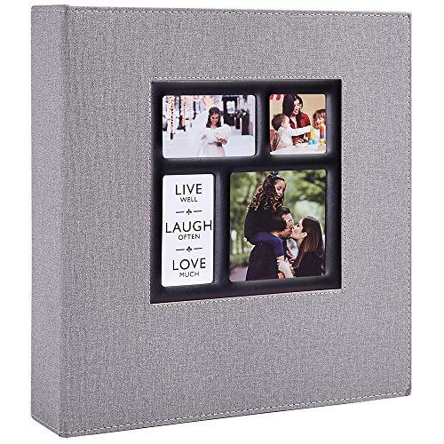 Benjia Album Fotografico 10x15 cm con 600 Tasche, Album Foto per 600 Foto, Foto Portafoto Albumini in Lino Grande per Matrimonio Famiglia Baby (600 tasche, Grigio)