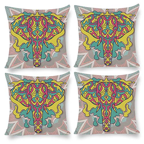 No branded Pack 4, Pillow Covers 18X18 Set of 4, Abstract National Wind Elephant Yellow, Decorative Square Pillow Cushion Pillowcase for Home Living Room Bed Sofa Car Nursery Patio Yard Decal