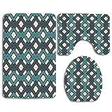 Not Applicable Geo Indian Retro Peru Blue Geometric Squares Tribal Pattern Tribal African Aztec Color Old Braid 3Pcs Set de baño Alfombra Contorno Mat + Tapa del Inodoro + Alfombrillas de baño