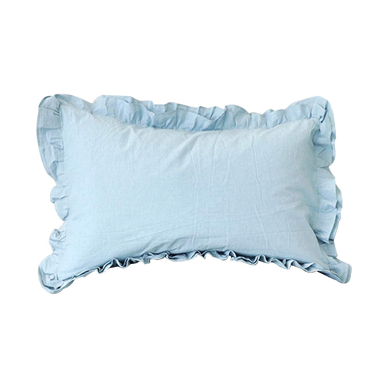 肺アーティファクト変装枕カバー 75×50cm(70x50cmも可) 綿 封筒式 ピローケース フリル付き 結婚式 ホテル品質 5色 (ブルー)
