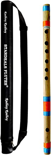 STARDEALS Flutes D Sharp 7 Hole Right Hand Bamboo Flute Bansuri With Free Flute Bag Natural Brown 17 Inch