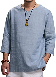Comaba Mens Linen Pullover Pure Color Leisure V Neck Relaxed-Fit Collared Dress Shirts