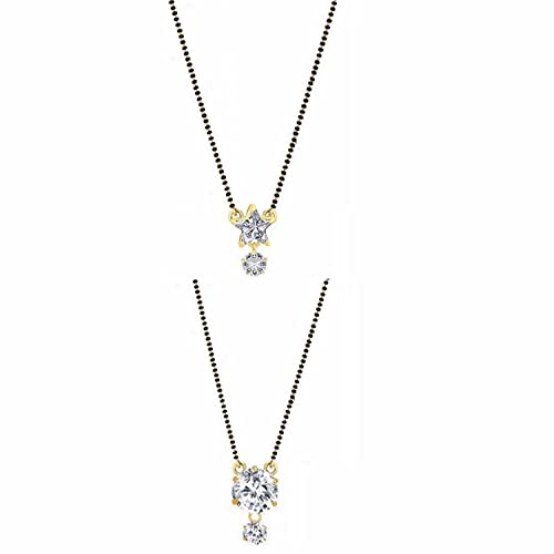 ef50be41c Archi Collection Jewellery Ethnic Traditional Gold Plated American Diamond  Latest Design Mangalsutra Pendant Necklace with chain