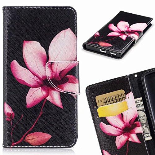Yiizy Custodie Huawei Mate 10 Lite/Huawei Nova 2i Cover, Pink Flowers Custodia Portafoglio Silicone Cover PU Pelle Cuoio Copertura Schede Cavalletto Stile Libro Protettivo Borsa