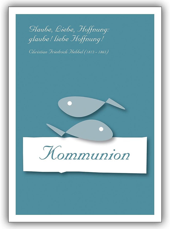 16 Christliche Grusskarten (16er Set)  Kommunions Grußkarte mit mit mit Hebbel Zitat  Glaube, liebe, Hoffnung  glaube ... B00VRL3QV6 | Adoptieren  a7a2ba