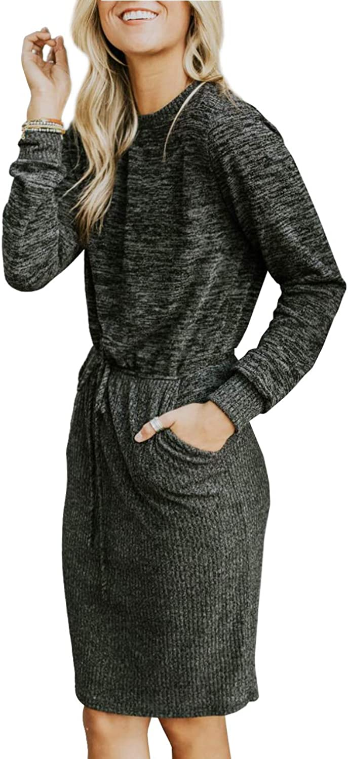 GAMISOTE Womens Casual Office Dresses with Belt Long Sleeve Round Neck Belt Waist Sweater Dress