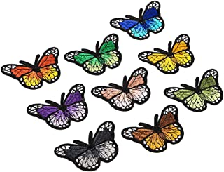 GoolRC 9 Pieces Butterfly Iron on Patches Different Colors Embroidery Applique Patches for Arts Crafts DIY Decor, Jeans, K...