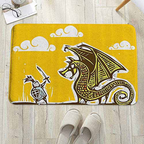 Alfombra de baño, Alfombrilla de baño de microfibra,Dragón, Caballero con Escudo en Armadura de Acero Contra Dragón con A, antideslizante, absorbente, lavable, para cuarto de baño, salón (60 x 100 cm)