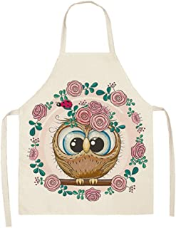 GLBS Parent-child Kitchen Cartoon Owl Pattern Painting Kids Apron Cooking Baking Adult Household Cleaning Tools Back Strap...