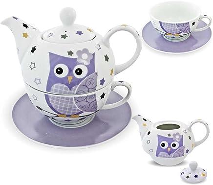 Preisvergleich für Porzellan Tee Set Tea for one Teeservice Teekanne Tasse Untersetzer Eule lila weiß