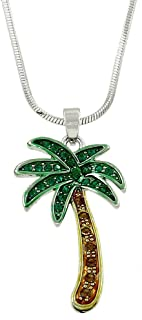 Liavy's Green Palm Tree Charm Pendant Fashionable Necklace - Sparkling Crystal - 17