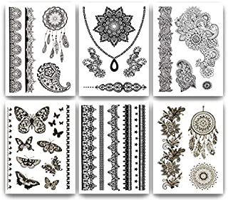 Terra Tattoos Temporary Henna Tattoos - 50 Black Fake Tattoos