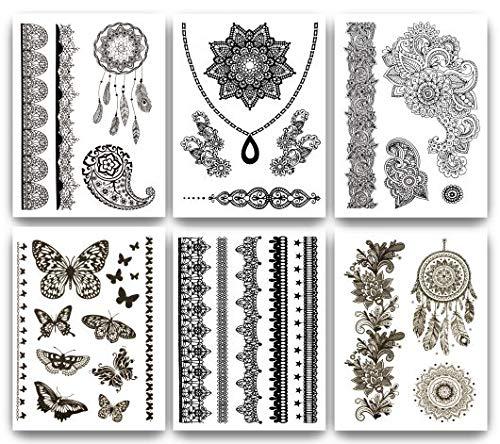 Terra Tattoos Temporary Henna Tattoos - 50 Black Fake Tattoos Flowers Mandalas Arm Bands Dream Catchers Butterflys