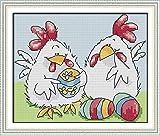 Kits de punto de cruz para principiantes, 11CT, juegos de bordado de punto de cruz estampado, pollo, manualidades, suministros de punto de cruz, regalo de costura para decoración del hogar, 16 x
