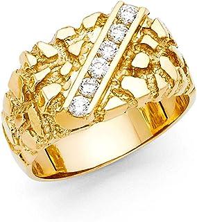Wellingsale Men's Solid 14k Yellow Gold CZ Cubic Zirconia Heavy Nugget Ring