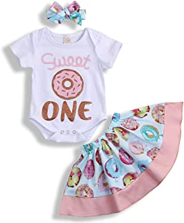 Infant Baby Girl Fall Outfits Sweet One Birthday Romper Top Donut Tutu Skirt Headband 3PCS Clothing Set
