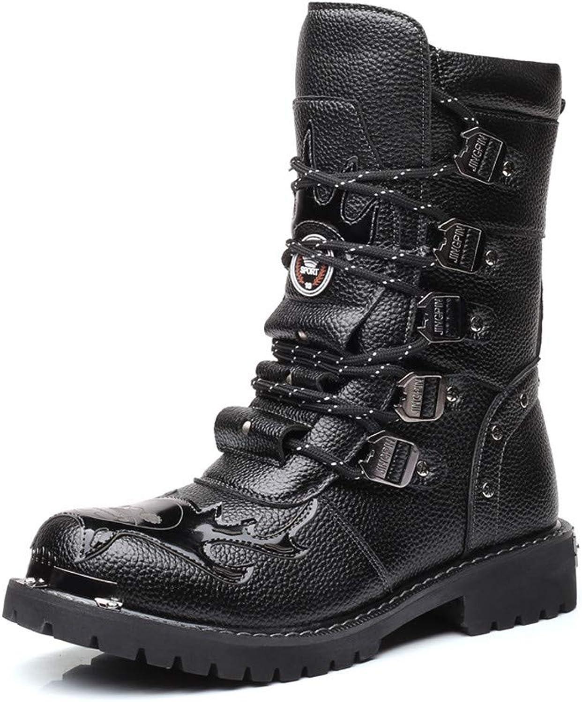 Jiahe Herren Martin Stiefel Echtes Leder Wasserdichte Armee Gothic Motorrad Steampunk Schuhe Motorrad Western Cowboy Stiefel Uniform Stiefel,A,38