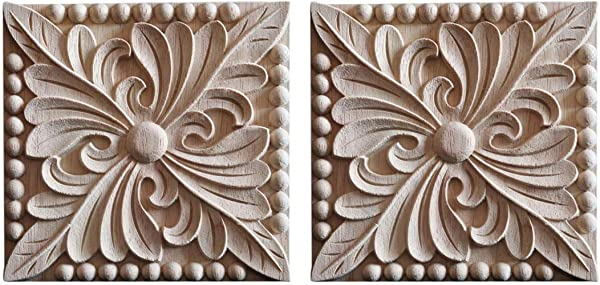 Enerhu 2 Pack Wood Carved Applique Onlay Square Carving Decal Unpainted Flower Door Cabinet Furniture Decoration 3 94x3 94inch 26