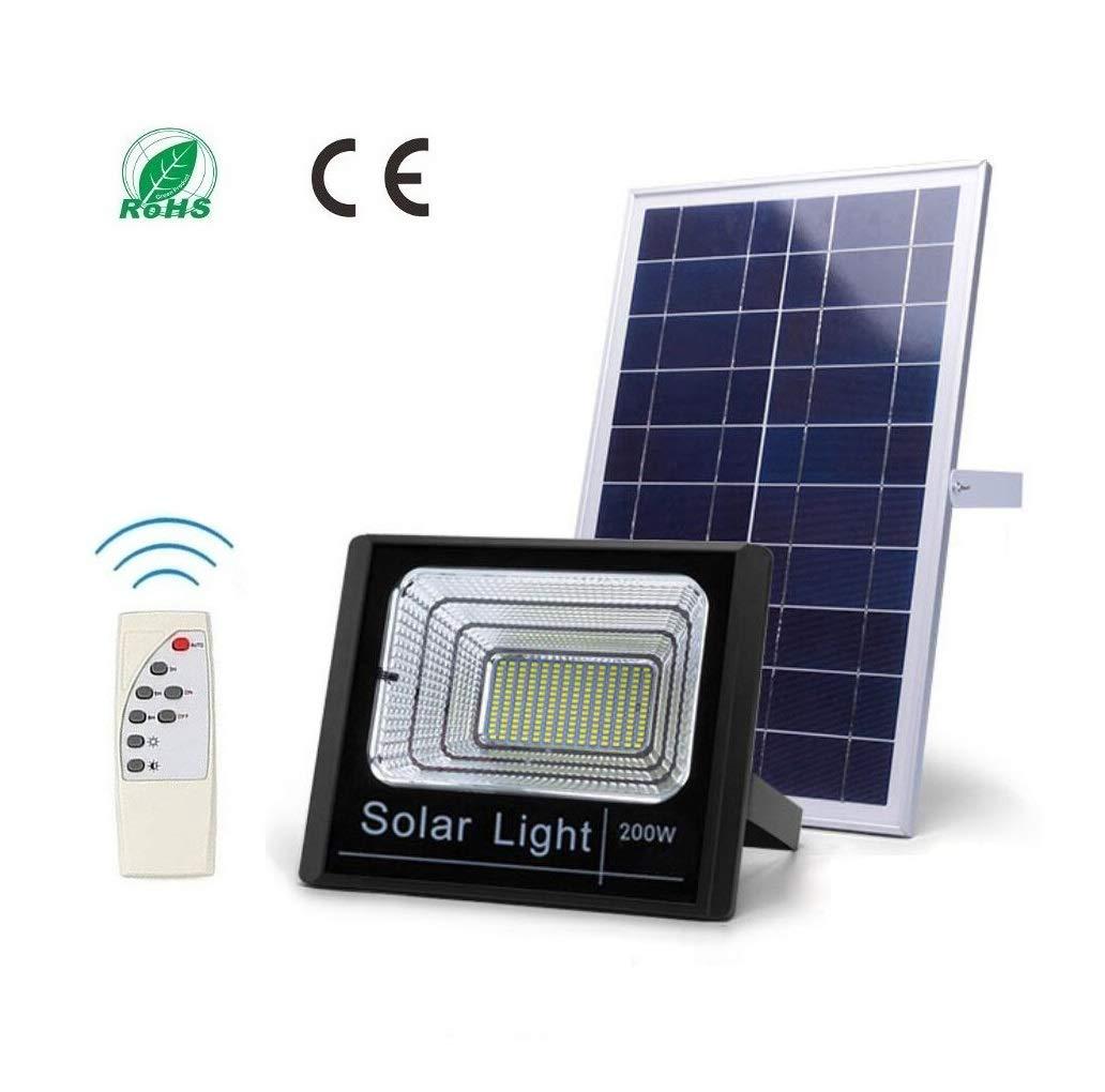 JKCWIN Reflector Solar LED, luz Solar de jardín Impermeable al Aire Libre IP66 con Control Remoto y Control de luz Función de luz de Seguridad,200W: Amazon.es: Jardín