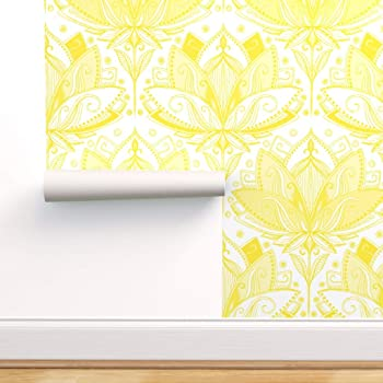 Spoonflower Peel And Stick Removable Wallpaper Lotus Lace Yellow And White Floral Lilies Print Self Adhesive Wallpaper 24in X 108in Roll Amazon Com