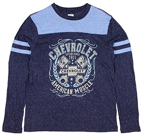 Price comparison product image Chevrolet GM Chevy American Muscle Speckle Long Sleeve T Shirt Licensed Small Blue