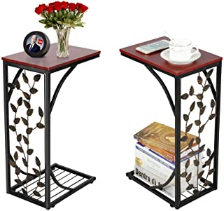Yaheetech Sofa Side and End Table Bronze Metal Frame Wooden Top With Elegant Leaf Design - Necessity in Your Living Room to Keep Books, Phone, Drinks, Snacks at Easy Reach