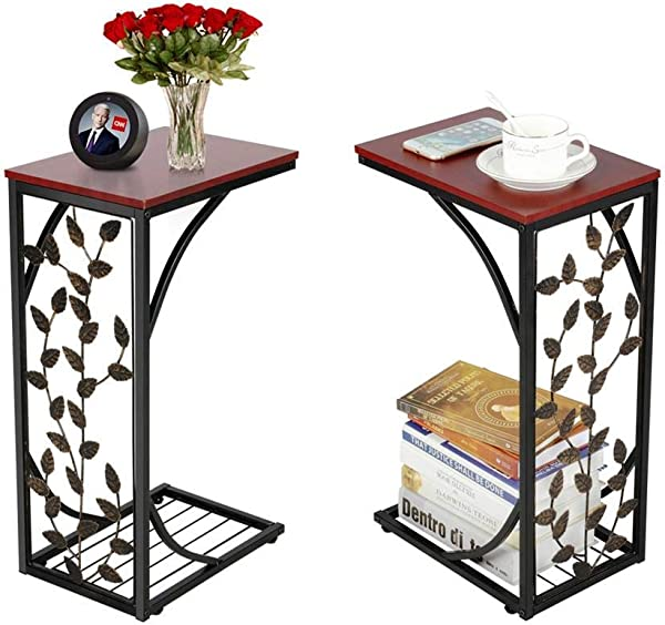 Yaheetech Sofa Side And End Table Bronze Metal Frame Wooden Top With Elegant Leaf Design Necessity In Your Living Room To Keep Books Phone Drinks Snacks At Easy Reach
