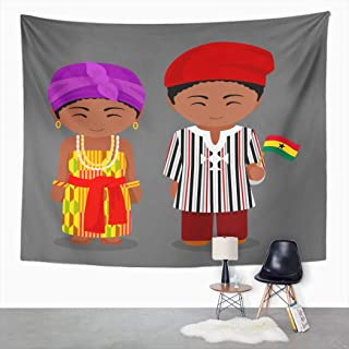 Suklly Tapestry Wall Hanging Ghanaian in National Flag Man and Woman Traditional Costume Home Decor Polyester Living Bedroom Dorm 50 X 60 Inches Picnic Mat Beach Towel Bed Cover