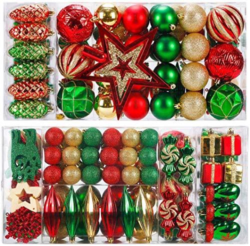 KOGLEE Palle di Natale 88 Pezzi - Palline per Albero di Natale Addobbi per L'Albero Addobbi per L'Albero di Natale (Rosso e Verde)