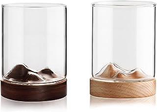 Tazze da montagna tazze in vetro occhiali isolato tazza espresso con montagne russe, tazza di caffè, tazza di tè, tazza di...
