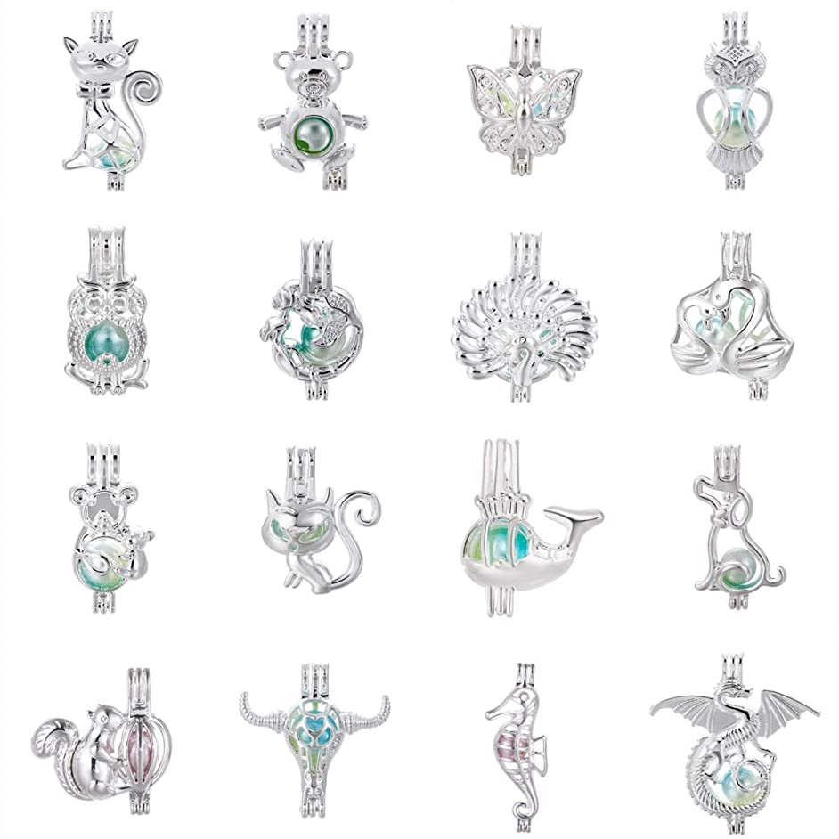 Mixed 16pcs Animals Silver Pearl Cage Beads Cage Locket Pendants DIY Necklace Bracelet Jewelry Making Supplies-for Oyster Pearls, Essential Oil Diffuser, Fun Gifts (Mixed Animals-2)
