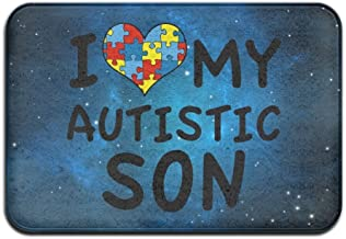 Soft Non-slip I Love My Autistic Son Bath Mat Coral Fleece Area Rug Door Mat Entrance Rug Floor Mats