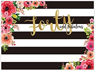 Allenjoy 8x6ft Fabulous 40th Birthday Backdrops Happy Forty Years Old Adult Women Prom Black White Stripe Gold Glitter Pink Paper Flower Banner Party Decoration Supplies Props Photo Booth Background