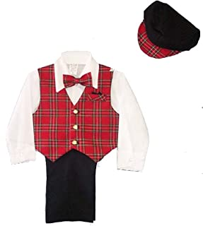 Boys 5-pc Slacks Set Red Plaid Vest,Shirt, Bowtie,Cap 9M to 4T