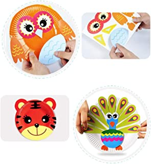 ROSENICE DIY Animal Paper Plates Art Kit with Sticker Kids Early Learning Education Play Toy Perfect for Craft Parties Gro...
