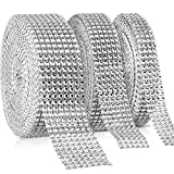 3 Rolls 30 Yards Rhinestone Crystal Ribbon Acrylic Diamond Ribbon Diamond Mesh Wrap Roll for Wedding Cakes, Birthday Decorations, Party Supplies, Arts and Crafts Project, 8 Row, 6 Row, 4 Row (Silver)