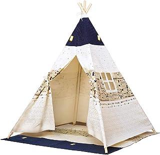 Bino lektält tePee, tält barnkammare (barn tipitält, lekhus för barn från 3 år, inomhus och utomhus, tryckt med indiska mo...