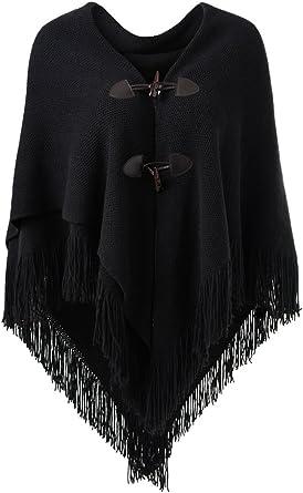 Ferand - Capa de poncho abierta para mujer, con botones de cuerno, cuello en V y dobladillo en V