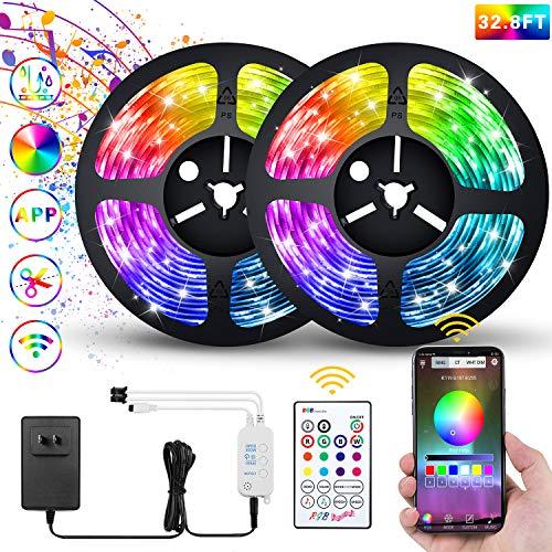 Led Strip Lights Bluetooth,32.8ft Color Changing Strip Lights 5050 SMD RGB LED Tape Light IP67 Waterproof for Party Bar Car Home Kid'Room DIY Decoration