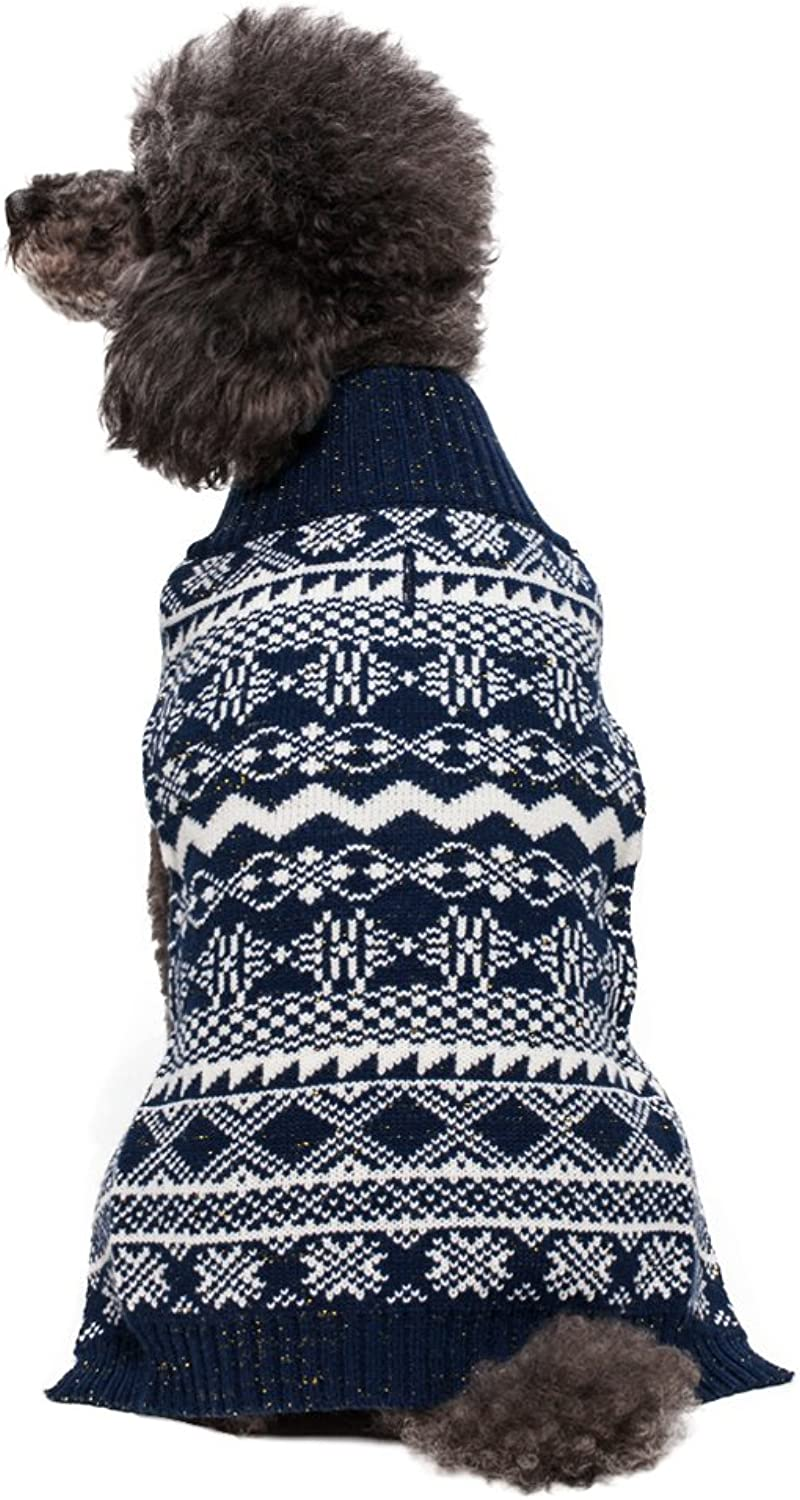 blueeberry Pet Vintage Tinsel Knit Fair Isle Dog Sweater in Midnight bluee, Back Length 16 , Pack of 1 Clothes for Dogs