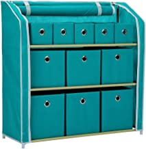 Home-Like 11 Drawer Storage Organizer, Muti-Bin Toy Organizer, 3 Tier Metal Shelves with 11 Removable Fabric Bins, DIY Multi-Purpose Storage Chest Suit for Home Office Bedroom Playroom, Turquoise