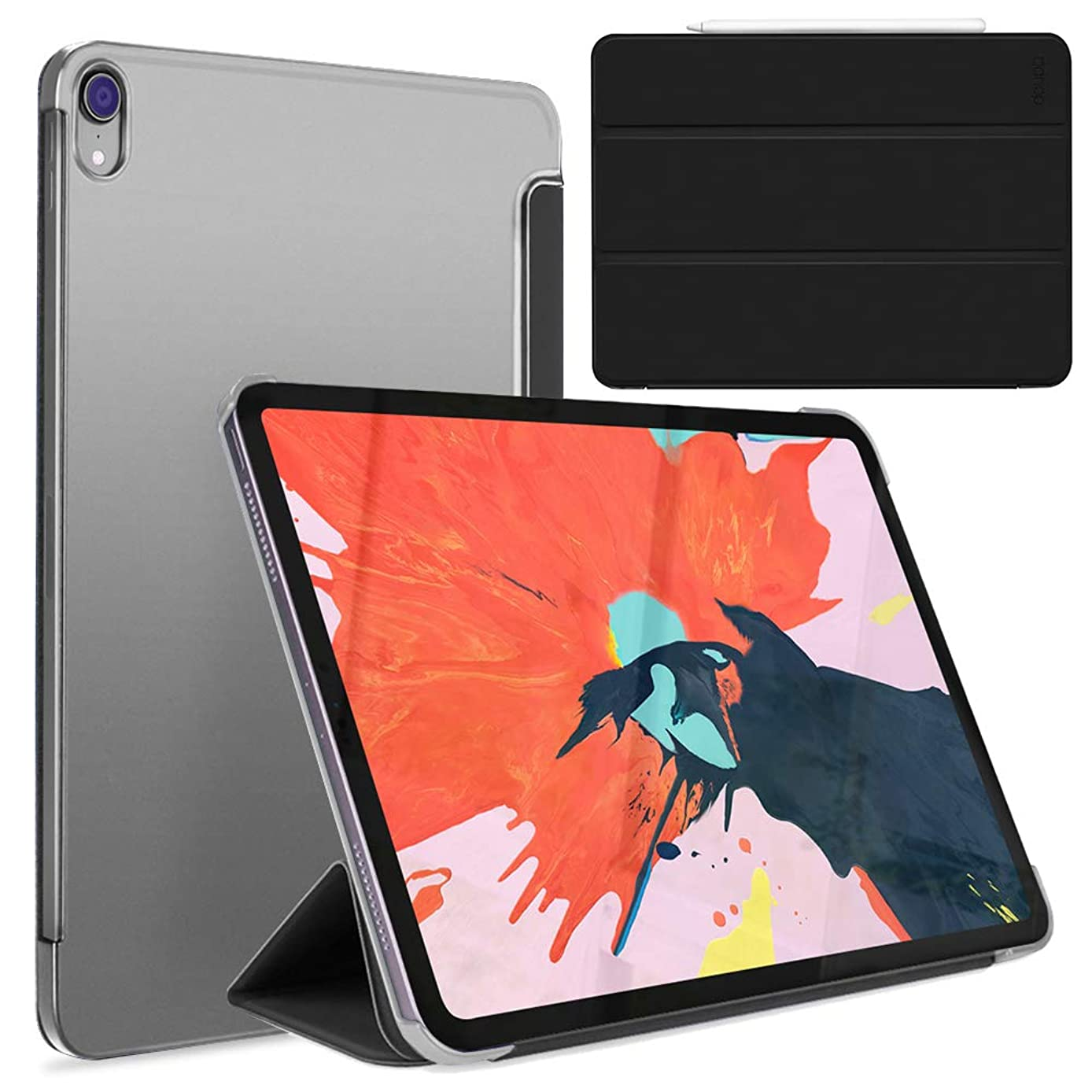 doupi FlipCase for iPad Pro 12.9 inch (2018), Deluxe Flip Cover with Smart Sleep/Wake Up Function, can be Set up as Stand for Video Viewing or Writing, Black