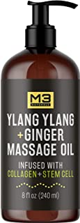 M3 Naturals Ylang Ylang and Ginger Massage Oil Infused with Collagen, Stem Cell and..