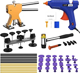 POWPDR Paintless Dent Repair Puller Kit, 56pcs Automotive Car Dent Removal Kit Pops a Dent Tools with 100W Glue Gun for Small Dent Remover