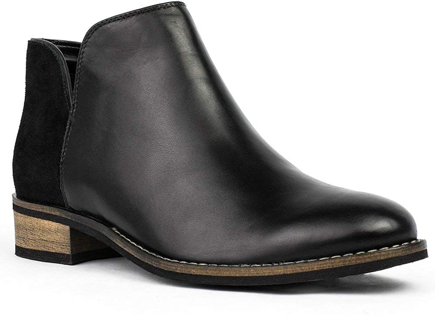 Crevo Womens Primpink Leather Closed Toe Ankle Fashion Boots