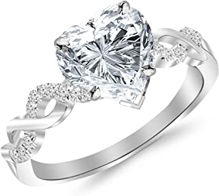 1.13 Ctw 14K White Gold Twisting Infinity Gold and Diamond Split Shank Pave Set Heart Shape Diamond Engagement Ring (1 Ct H Color SI2 Clarity Center Stone)