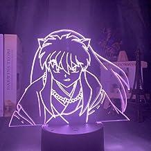 Lámpara De Ilusión 3D Luz De Noche Led Manga Inuyasha Figura Para Dormitorio Infantil Ambiente Decorativo Lámpara De Mesa Con Batería Usb Regalo Para Niños