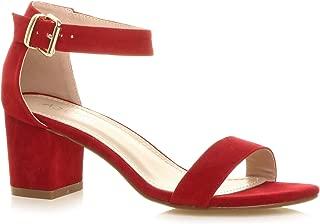 Ajvani Women's Mid Block Heel Strappy Sandals Size